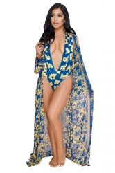 Deep V Halter Print Bikini With Long Sleeve Beach Cover-Up Sarong Blue