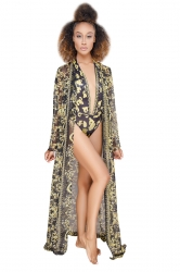 Deep V Halter Print Bikini With Long Sleeve Beach Cover-Up Sarong Black