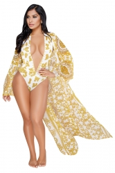 Deep V Halter Print Bikini With Long Sleeve Beach Cover-Up Sarong Gold