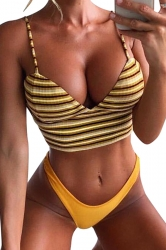 Spaghetti Straps Stripe Camisole Crop Top High Cut Bikini Yellow