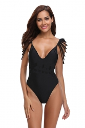 Sexy V Neck Cut Out Sleeve Backless Plain One Piece Swimsuit Black
