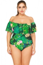 Plus Size Ruffle Off Shoulder Print One Piece Swimsuit Emerald Green