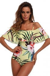 Sexy Ruffle Off Shoulder Floral Print One Piece Swimsuit Yellow