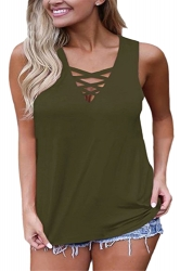 Sexy Criss Cross V Neck Sleeveless Plus Size Plain Tank Top Olive Green