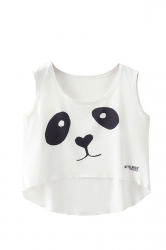 Cute Crew Neck Sleeveless Panda Face Print High Low Hem Crop Top White