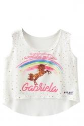 Cute Crew Neck Rainbow And Unicorn Print Dip Hem Crop Tank Top White