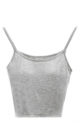 Sexy Spaghetti Straps Tube Plain Camisole Crop Top Grey