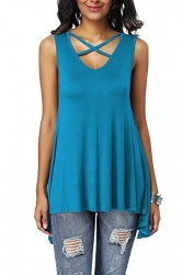 Criss Cross V Neck Sleeveless Asymmetrical Hem Plain Tank Top Blue
