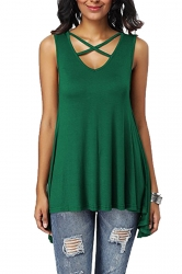 Criss Cross V Neck Sleeveless Asymmetrical Hem Loose Tank Top Green