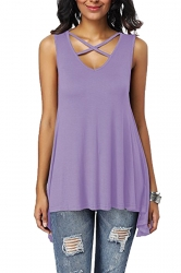 Criss Cross V Neck Asymmetrical Hem Loose Plain Tank Top Light Purple
