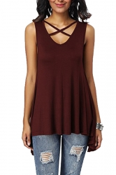 Criss Cross V Neck Sleeveless Asymmetrical Hem Loose Tank Top Ruby