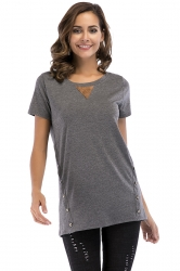Crew Neck Short Sleeve Double Buttons Loose Plain T Shirt Dark Grey