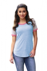 Crew Neck Short Raglan Sleeve Color Block Loose T Shirt Light Blue