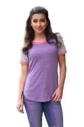 Crew Neck Short Raglan Sleeve Color Block Loose T Shirt Purple