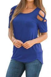Crew Neck Short Sleeve Cold Shoulder Split Plain T Shirt Blue