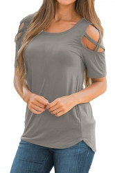 Crew Neck Short Sleeve Cold Shoulder Split Plain T Shirt Gray