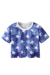 Crew Neck Short Sleeve Stars Double Side Print Crop Top Blue