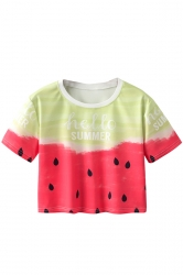 Crew Neck Short Sleeve Watermelon Double Side Print Crop Top Red