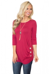 Crew Neck 3/4 Length Sleeve Side Button Design Plain T Shirt Rose Red