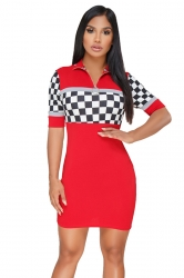 Short Sleeve Zipper Turndown Collar Plaid Patchwork Bodycon Dress Red