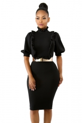 Short Sleeve Ruffle Collar Lantern Sleeve Bodycon Midi Dress Black