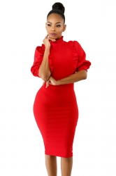 Short Sleeve Back Zipper Ruffle Collar Plain Bodycon Midi Dress Red