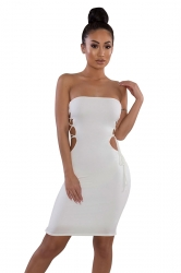 Cut Out Cross Lace Up Plain Strapless Tube Bodycon Club Dress White