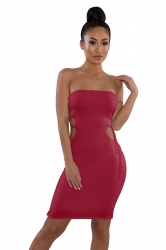Cut Out Cross Lace Up Plain Strapless Tube Bodycon Club Dress Ruby