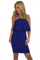 Spaghetti Straps Ruffle Hem Plain Tube Bodycon Club Dress Blue