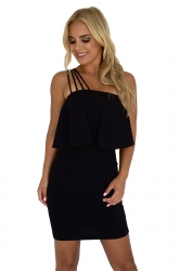 Spaghetti Straps Ruffle Hem Plain Tube Bodycon Club Dress Black