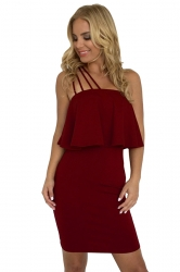 Spaghetti Straps Ruffle Hem Plain Tube Bodycon Club Dress Ruby