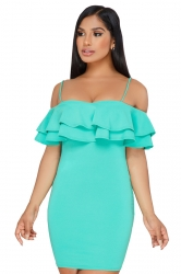 Spaghetti Straps Ruffle Short Sleeve Plain Bodycon Club Dress Turquoise