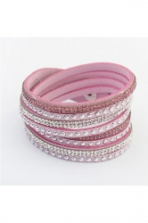 Pink Alloy Diamond Multi Layers Wrap Wristband Cuff Leather Bracelet