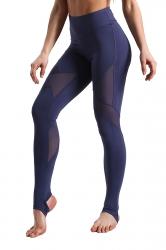 High Waist Skinny Mesh Patchwork Stirrup Plain Sports Leggings Blue