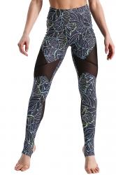 High Waist Mesh Patchwork Stirrup Print Sports Leggings Turquoise