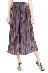 Elastic Waisted Wide Legs Chiffon Stripe Leisure Capri Pants Purple