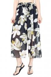 Elastic Waist Belt Floral Print Wide Legs Chiffon Capri Pants Apricot