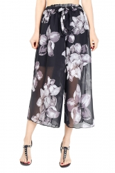 Elastic Waist Belt Floral Print Wide Legs Chiffon Capri Pants