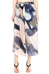 Elastic Waist Belt Print Wide Legs Chiffon Capri Pants Blue