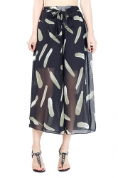 Elastic Waist Belt Leaves Print Wide Legs Chiffon Capri Pants Black