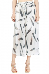 Elastic Waist Belt Leaves Print Wide Legs Chiffon Capri Pants Beige White