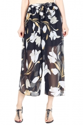 Elastic Waist Belt Floral Print Wide Legs Chiffon Capri Pants Orange