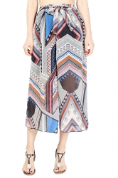 Elastic Waist Belt Geometric Print Wide Legs Chiffon Capri Pants Gray