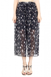 Elastic Waist Belt Leaves Print Wide Legs Chiffon Capri Pants