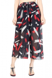 Elastic Waist Belt Print Wide Legs Chiffon Capri Pants Red