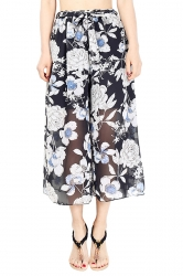 Elastic Waist Belt Floral Print Wide Legs Chiffon Capri Pants Turquoise