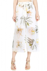 Elastic Waist Belt Floral Print Wide Legs Chiffon Capri Pants White