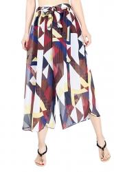 Elastic Waist Belt Geometric Print Wide Legs Chiffon Capri Pants Ruby