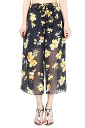 Elastic Waist Belt Floral Print Wide Legs Chiffon Capri Pants Yellow