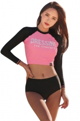 High Neck Long Sleeve High Waisted Color Block Rash Guard Diving Suit Pink